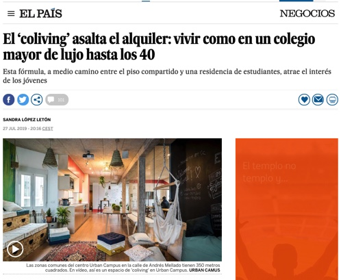 El País Article, Coliving at urban Campus