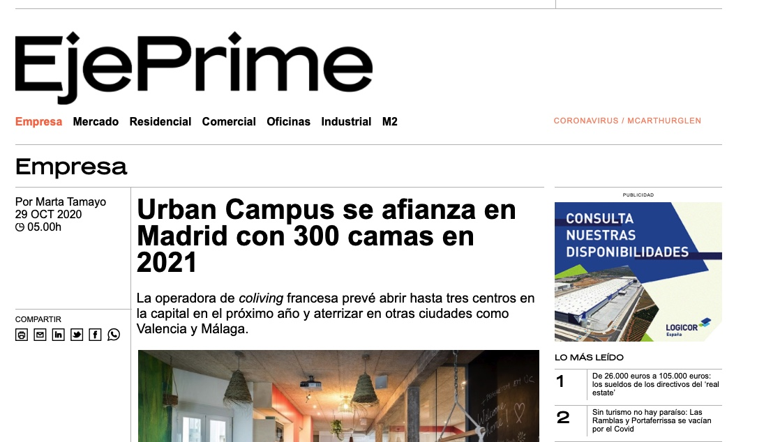 EjePrime spoke to the CEO of the company, John Van Oost, about Urban Campus's plans to expand in Madrid. The company will open up three new spaces next year, adding 300 beds to its Madrid portfolio.