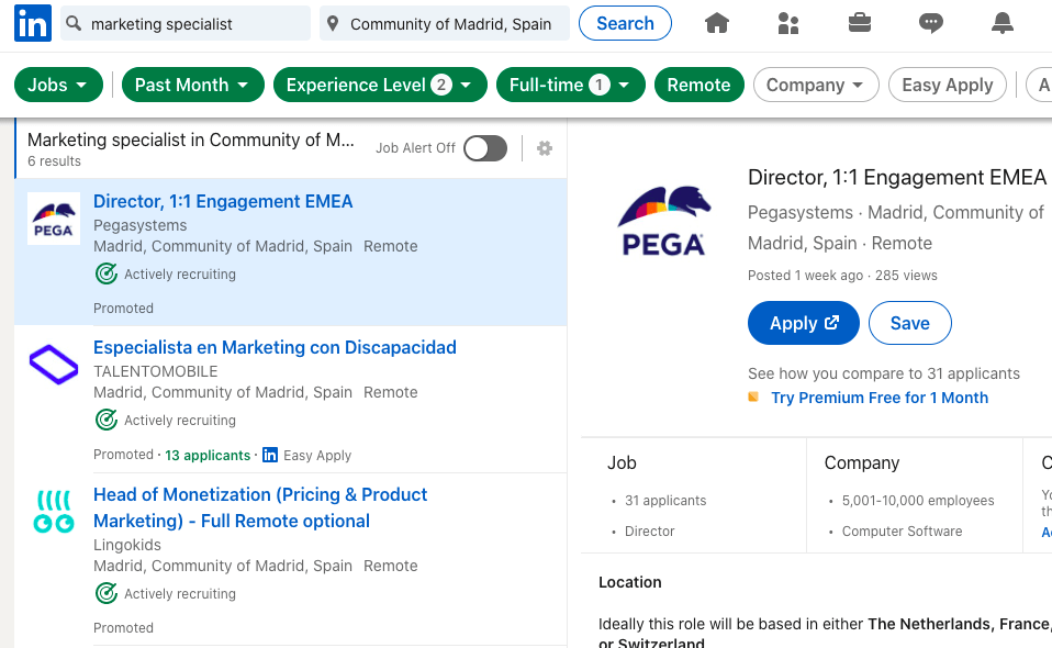 Linkedin Job in Madrid